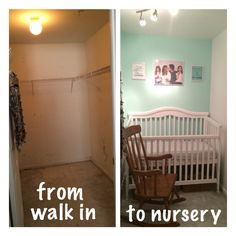Convert a walk-in closet to a nursery #walkin #closet #nursery #smallspace #spacesaver #DIY