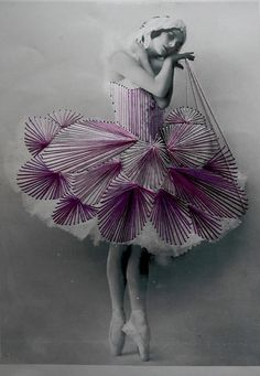 Chilean artist Jose Romussi takes vintage black & white photograph of ballerina and saw over some colorful thread adding a playful touch to their frozen posture