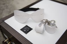 White Leather Cuffs, Mask and BXG Flight Case