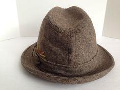 Vintage mens dobbs fedora brown tan tweed gold brown feather banded 22