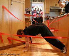Laser beam training and.- boys crawled through the crepe paper beams without touching them. Add more lasers each time they go through.