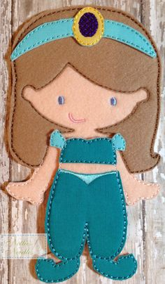 Jasmine Princess Felt UnPaper doll and outfit by NettiesNeedlesToo, $12.00