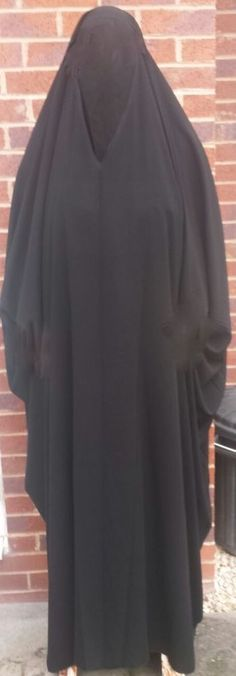 Black #overhead #Jilbab #Islamic Overcoat Abaya Full Coverage Modest Dubai Saudi Arabia