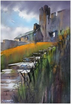 """""""Steps to Greencastle Castle"""" Mourne - Northern Ireland thomas w schaller watercolor 24x18 inches 14 sept. 2014"""