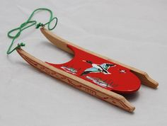 Myra Stell - hand painted wooden sled, 1982