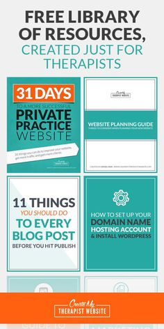 If you are a therapist in private practice and you struggle with creating a professional-looking website and growing your online traffic, this is for you. Once you discover my simple methods to create a therapy website and market it online, you will have a website you're proud of and one that attracts the clients you really want to work with. You can access my free library of checklists, ebooks and downloads here: :