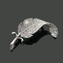 Wholsale mode Loved vêtements pull accessoires Simple délicat cristal broches couleur argent en forme de plumes broche pins(China (Mainland))