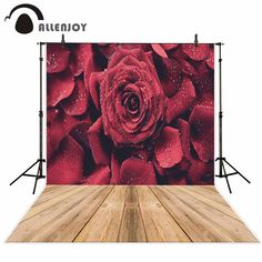 Allenjoy Red rose wood floor dew wedding romantic background photography backdrops vinyl backdrops for photography