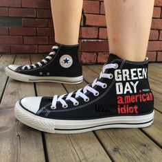 79c0bcac8bee Men Women Converse Shoes Green Day Hand Painted Black Canvas Sneakers