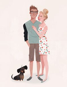 A cute couple and their cute pup!