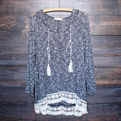grey two tone lightweight boho pull over sweater tunic hoodie with lace hem shirt shirts top tops bohemian boho chic lace lacy crochet hem spring fashion outfits