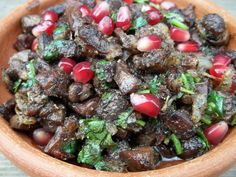 This dish is popular with Georgians during holidays and other celebrations, and consists of chicken or beef liver and gizzards and walnuts.