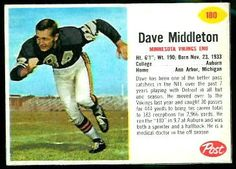 Dave Middleton 1962 Post Cereal football card
