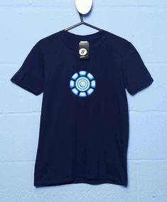 Tony Stark Power Coil Chest T Shirt - Navy / XL