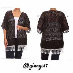 Boho Chic! Plus Lace Fringed Cardigan Boho Chic! Boutique Label Plus Lace Fringed Kimono Style Cardigan. Material 96% Polyester 4% Spandex. Boutique Sweaters Cardigans