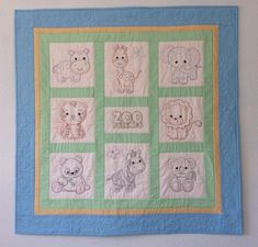 Hand Embroidered Baby Quilt, Zoo Animals, Baby Shower Gift, Nursery Bedding, Baby Blanket, Baby Christmas, Nursery Wall Hanging Pink Quilts, Baby Girl Quilts, Girls Quilts, Embroidered Baby Blankets, Handmade Baby Quilts, Toddler Quilt, Quilt Labels, Baby Blocks, Twin Quilt