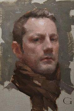 """Self-Portrait - David Gray (b. 1970), oil on canvas {figurative #impressionist artist male head man face cropped painting #loveart} davidgrayart.com"