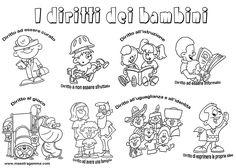 www.maestragemma.com cartelloni_diritti_bambini.htm Catholic Crafts, School Tomorrow, Trash Polka, Life Skills, Cute Babies, Diagram, Teaching, Education, Comics