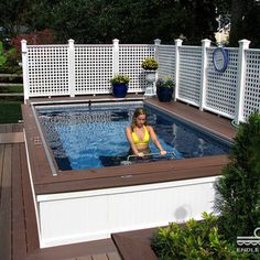 Backyard Deck Endless Pool® traditional swimming pools and spas Swimming Pool Pictures, Small Swimming Pools, Swimming Pools Backyard, Pool Spa, Jacuzzi, Hot Tub Backyard, Small Backyard Pools, Small Patio, Above Ground Pool Decks