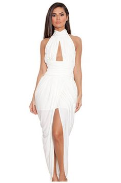 White Silky Jersey Draped Maxi Dress. Slay in this during your bachelorette weekend!