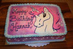 Hannah's Unicorn on Cake Central Birthday Sheet Cakes, 4th Birthday Cakes, Unicorn Birthday Parties, Unicorn Party, Birthday Ideas, Kylie Birthday, Unicorn Cupcakes, Cake Central, Occasion Cakes
