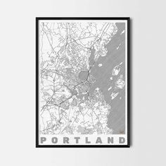 Portland Maine art prints -Art posters and prints of your favorite city. Unique design of a map. Perfect for your house and office or as a gift for friend.