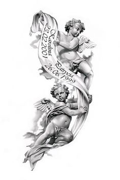 Tattoo Trends – Angels tattoo design by for passing of grandparents…. - 2017 trend Tattoo Trends – Angels tattoo design by for passing of grandparents - Angel Tattoo Designs, Tattoo Sleeve Designs, Tattoo Designs Men, Sleeve Tattoos, Ange Tattoo, Cupid Tattoo, Tattoo Tod, Cat Tattoo, Tatoo Angel