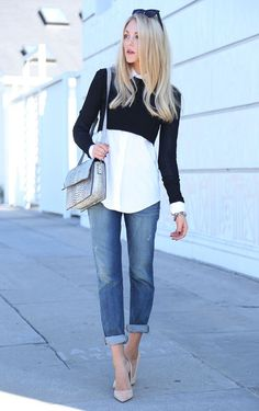 Cropped sweater over button-up.
