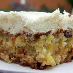 Pineapple Pecan Cake with Cream Cheese Frosting. I don't know why, but our family has always called this Mexican Fruit Cake. Whatever it is called, it's a family favorite!