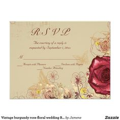 Vintage burgundy rose floral wedding RSVP card