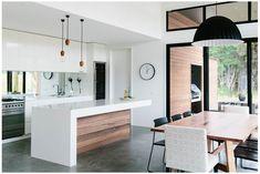 concrete floor / white cabinets / black accents