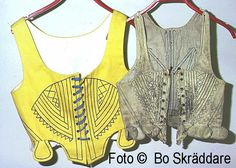 Livstycke i skinn från Möklinta. 18th Century Stays, Carl Larsson, White Apron, Kerchief, Sweden, Bodice, Vest, Fashion, Suits