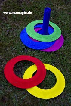 Geschicklichkeitsspiel aus Papptellern / Skill game made of cardboard plates / Upcycling