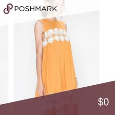 """🌾Mustard Tone Lace Dress Solid Crochet Trimmed Sleeveless Woven Dress. Stunner!!!!! Pair With a Jean Jacket and Boots in the Fall 🍂 Rayon Lining Cotton Slip. 19"""" Bust 37"""" Length Taken from Size Medium. I am modeling a small in photos. Dresses Midi"""