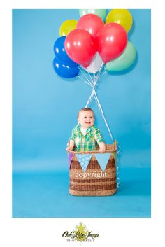 birthday, hot air balloon, baby boy, child photography, infant photography ideas