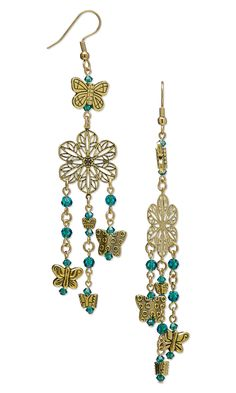 """Jewelry Design - Earrings with Gold-Finished Brass Links, Antiqued Gold-Finished """"Pewter"""" Beads and Swarovski Crystal - Fire Mountain Gems and Beads"""