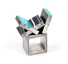 Helfried Kodré, Austria, Ring: Unititled silver, agate, turquoise by rachelle Enamel Jewelry, Jewelry Art, Jewelry Rings, Jewelery, Fine Jewelry, Jewelry Design, Contemporary Jewellery, Modern Jewelry, Unique Jewelry