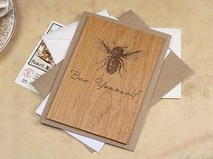 Bee Yourself Wooden Postcard, $10.00