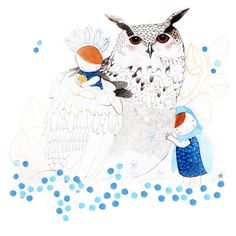 Mamma Owl  Woodland  Whimsical Illustration for Kids by pescerosso