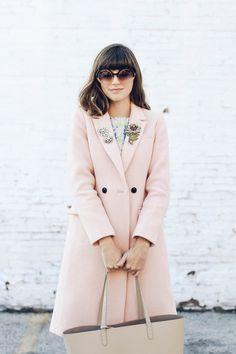 Emilee Anne wearing Vintage Rhinestone and Flower Brooches // Banana Republic Coat // Dahlia Dress // Zara Pumps // Mansur Gavriel Tote // Taylor Morris Sunglasses