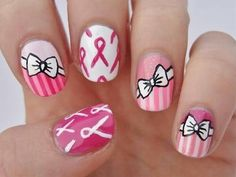 Pretty Cancer Awareness nail art