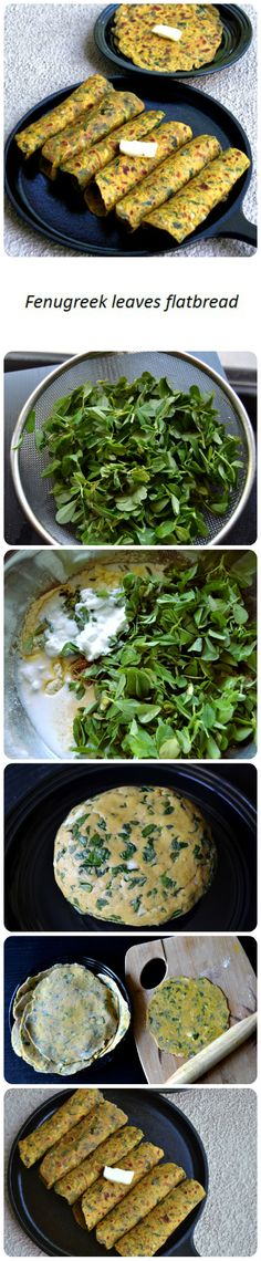 Delicious and nutritious fresh fenugreek leaves unleavened indian flat breads.