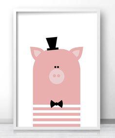 Printable Pig Kids Wall Art, Pink Nursery Art Print, Animal Nursery Decor