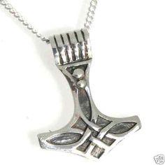 STERLING SILVER Mjolnir Viking Norse God Thor THOR'S Thors HAMMER Pendant #Pendant
