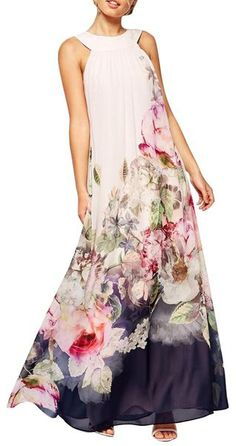 Trending Fashion - Floral Round Neck Sleeveless Maxi Dress ==