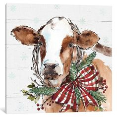 """Trademark Fine Art Anne Tavoletti """"Holiday On The Farm Viii On Gray"""" Canvas Art at Lowe's. This ready to hang, gallery-wrapped art piece features a brown cow wearing a Christmas wreath. For Anne Tavoletti, drawing and painting have always been Cow Paintings On Canvas, Cow Canvas, Christmas Paintings On Canvas, Artist Canvas, Canvas Art Prints, Painting Prints, Canvas Artwork, Watercolor Paintings, Art Paintings"""