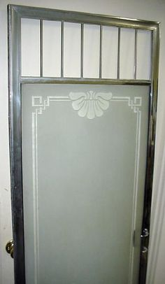 """Antique shower door. Sandblasted glass with nouveau design, 71 7/8"""" x 23 1/4"""" Left Hinge, Right Handle, With striker moulding. Removed from ca.1940 Beverly Hills home, made by the Modern Metal Arts Co, Los Angeles. **SOLD**"""