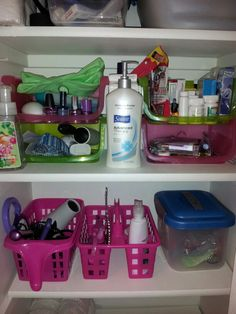 Dollar tree organization for the bathroom closet. The pink and green bins are all dollar tree finds. The ones on the upper shelf have nail stuff, miscellaneous, medicine, and makeup items. My daughter and I both have our own container for hair stuff (brushes, detangler, etc) and then the other container (not dollar tree) has hair accessories.