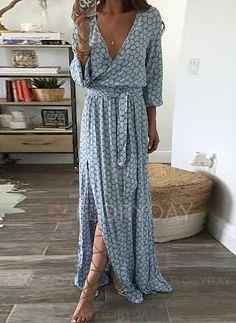 Sukienki - $45.99 - Poliester Długi Rękaw Maxi Vintage Wstęgi Sukienki (1955127673)