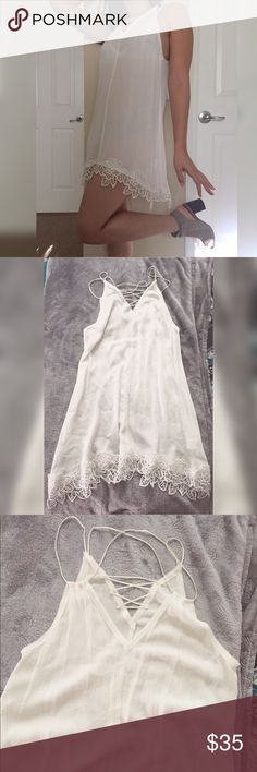 """Delicate trim dress BRAND new beautiful dress to wear any occasion material polyester/cotton. Small length 34"""" bust 36"""" Dresses Asymmetrical"""